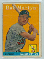 Bob Martyn AUTOGRAPH 1958 Topps #39 Athletics  CARD IS F/P
