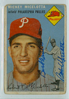Mickey Micelotta AUTOGRAPH 1954 Topps #212 Phillies  CARD IS F/G