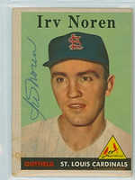 Irv Noren AUTOGRAPH d.19 1958 Topps #114 Cardinals CARD IS POOR, PAPER LOSS ON REVERSE  [SKU:NoreI1915_T58BBR2jl]