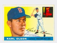 Karl Olson AUTOGRAPH d.10 1955 Topps #72 Red Sox CARD IS F/G  [SKU:OlsoK296_T55BB]