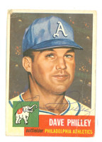 Dave Philley AUTOGRAPH d.12 1953 Topps #64 Athletics CARD IS F/P
