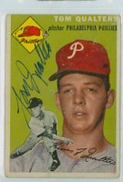 Tom Qualters AUTOGRAPH 1954 Topps #174 Phillies  CARD IS G/VG