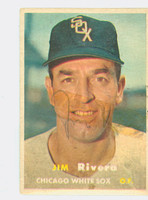 Jim Rivera AUTOGRAPH d.17 1957 Topps #107 White Sox CARD IS POOR; TAPE ON SIG  [SKU:RiveJ108_T57BB]