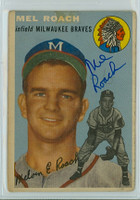 Mel Roach AUTOGRAPH 1954 Topps #181 Braves  TAPE ON CARD