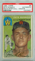 Pete Runnels AUTOGRAPH d.91 1954 Topps #6 Senators PSA/DNA 