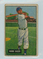 Hank Sauer AUTOGRAPH d.01 1951 Bowman Cubs  CARD IS F/P, CREASES