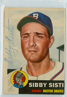 Sibby Sisti AUTOGRAPH d.06 1953 Topps #124 Braves VERY CLEAN Ex++