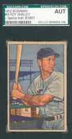 Roy Smalley AUTOGRAPH d.11 1952 Bowman Cubs SGC/JSA 