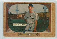 Frank Sullivan AUTOGRAPH d.16 1955 Bowman #15 Red Sox CARD IS F/G; AUTO CLEAN