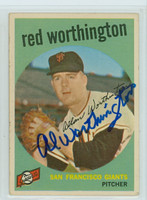 Red Worthington AUTOGRAPH 1959 Topps #28 Giants  