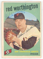 Al Worthington AUTOGRAPH 1959 Topps #28 Giants 
