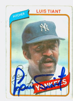 Luis Tiant AUTOGRAPH 1980 Topps #35 Yankees CARD IS G/VG