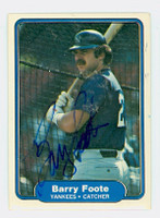 Barry Foote AUTOGRAPH 1982 Fleer #34 Yankees 
