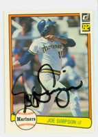 Joe Simpson AUTOGRAPH 1982 Donruss #55 Mariners 