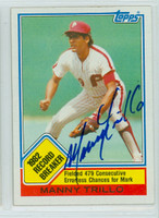 Manny Trillo AUTOGRAPH 1983 Topps #5 Phillies Record Breaker 