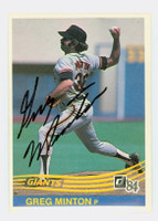 Greg Minton AUTOGRAPH 1984 Donruss #187 Giants 