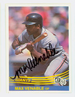 Max Venable AUTOGRAPH 1984 Donruss #323 Giants 