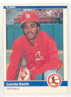 Lonnie Smith AUTOGRAPH 1984 Fleer #335 Cardinals 