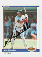 Max Venable AUTOGRAPH 1984 Fleer #385 Giants 