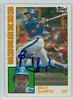 Billy Sample AUTOGRAPH 1984 Topps #12 Rangers 