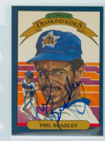 Phil Bradley AUTOGRAPH 1986 Donruss #22 Mariners Diamond King 