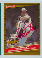 Joe Cowley AUTOGRAPH 1986 Donruss Highlight #44 White Sox 