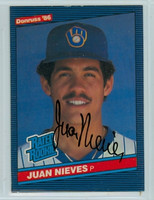 Juan Nieves AUTOGRAPH 1986 Donruss #40 Brewers ROOKIE 