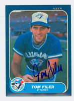 Tom Filer AUTOGRAPH 1986 Fleer Blue Jays 