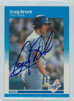 Greg Brock AUTOGRAPH 1987 Fleer #437 Dodgers 