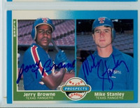 Jerry Browne - Mike Stanley DUAL SIGNED 1987 Fleer #647 Rangers 