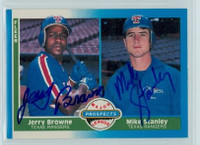 Jerry Browne - Mike Stanley DUAL SIGNED 1987 Fleer#647 Rangers 