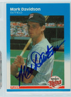 Mark Davidson AUTOGRAPH 1987 Fleer UPDATE #20 Twins 