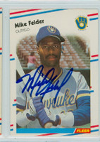 Mike Felder AUTOGRAPH 1988 Fleer Brewers 