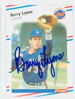Barry Lyons AUTOGRAPH 1988 Fleer Mets 