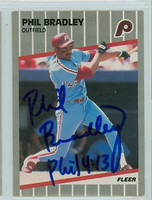Phil Bradley AUTOGRAPH 1989 Fleer Phillies 
