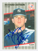 Richard Dotson AUTOGRAPH 1989 Fleer Yankees 