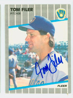 Tom Filer AUTOGRAPH 1989 Fleer Brewers 