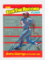 Andres Galarraga AUTOGRAPH 1989 Fleer For The Record Expos 
