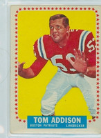 1964 Topps Football 1 Tommy Addison Single Print Boston Patriots Good to Very Good