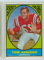 1967 Topps Football 5 Tom Addison Boston Patriots Excellent