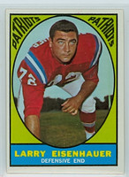 1967 Topps Football 9 Larry Eisenhauer Boston Patriots Excellent to Mint