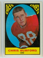 1967 Topps Football 72 Chris Burford Kansas City Chiefs Excellent to Mint