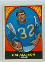 1967 Topps Football 122 Jim Allison San Diego Chargers Excellent
