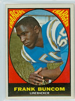 1967 Topps Football 130 Frank Buncom San Diego Chargers Excellent to Mint