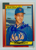Blaine Beatty AUTOGRAPH 1990 Topps Mets 