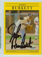 John Burkett AUTOGRAPH 1991 Fleer Giants 