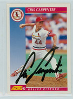 Cris Carpenter AUTOGRAPH 1992 Score Cardinals 
