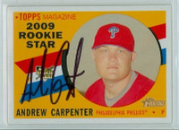 Drew Carpenter AUTOGRAPH 2009 Topps Heritage 1960 Topps Design Phillies 