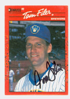 Tom Filer AUTOGRAPH 1990 Donruss Brewers 