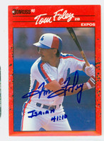 Tom Foley AUTOGRAPH 1990 Donruss Expos 